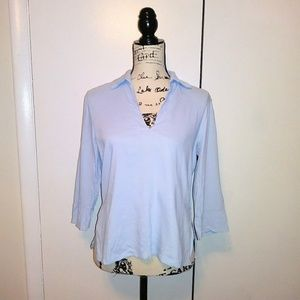 THEORY Morning Blue Linen Collar Deep V-Neck Tunic